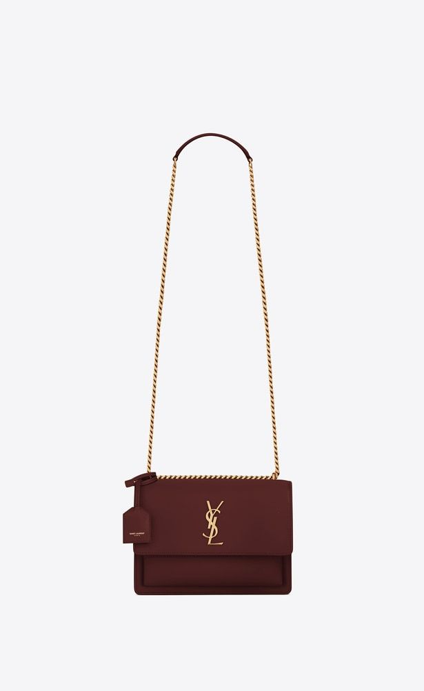 SAINT LAURENT Sunset Woman Medium Sunset bag in dark red leather a V4 6840a2aae34e6