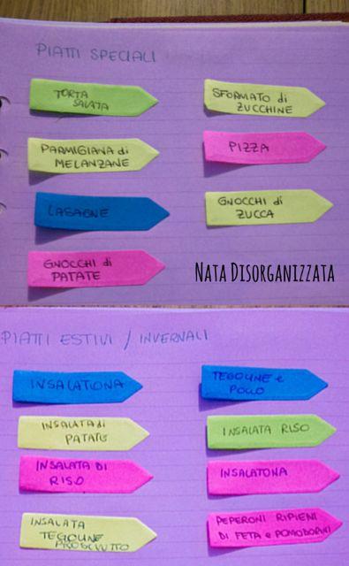 Nata disorganizzata: Come organizzare: il menù settimanale