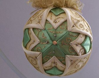 Christmas Ornament Quilted in Red White and Gold by NoelBelles