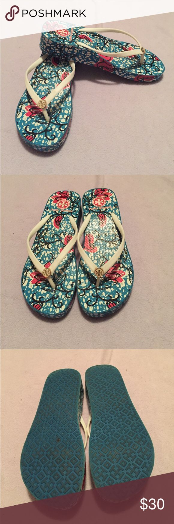 Tory Burch Wedge flip flops size 9 Tory Bur h Wedge flip flops, size 9. Worn once. Tory Burch Shoes Sandals