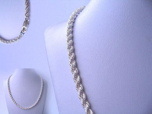 Cordón Salomónico 3mm de ancho x 50cm de largo en Plata de Ley 925 ml 13 gr Material: Plata de Ley 925 ml  Peso: 13 gr  Medida:  4mm ancho x 50 cm de largo.