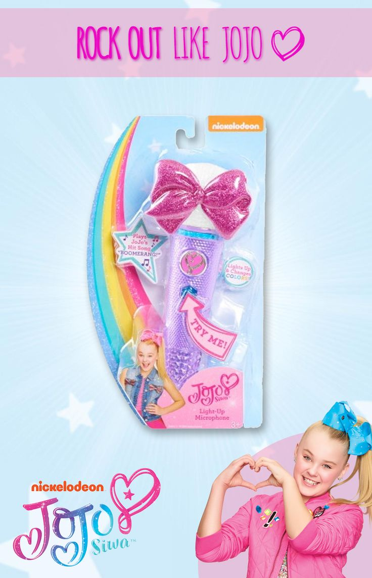 Forget singing into your hairbrush, the JoJo Light-Up Microphone features three different modes and really lights up! Press the button to activate fun light-up effects and sing along to JoJo Siwa's hit song Boomerang! This bedazzling microphone is even MP3 compatible, just plug it in to your MP3 device and get ready to rock out just like JoJo! Feel free to be yourself and sing your heart out!