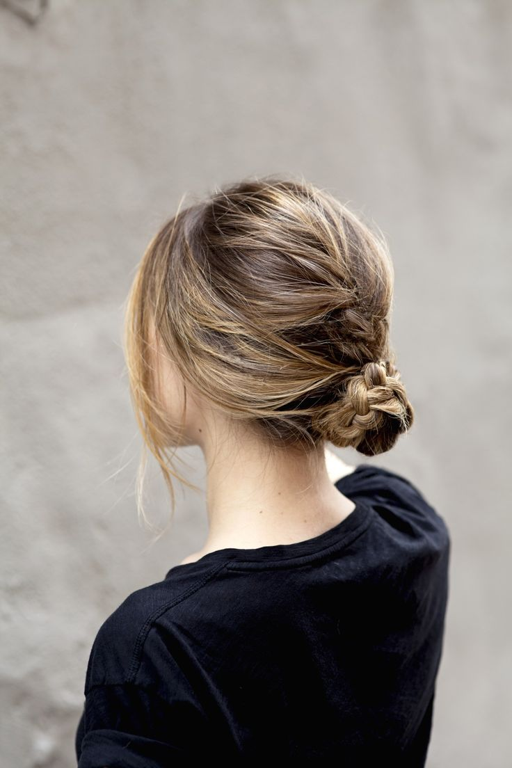 Messy braided bun with L'Oreal Paris Advanced Hairstyle Blow Out Longwear Spray for added texture @hairstyledotcom