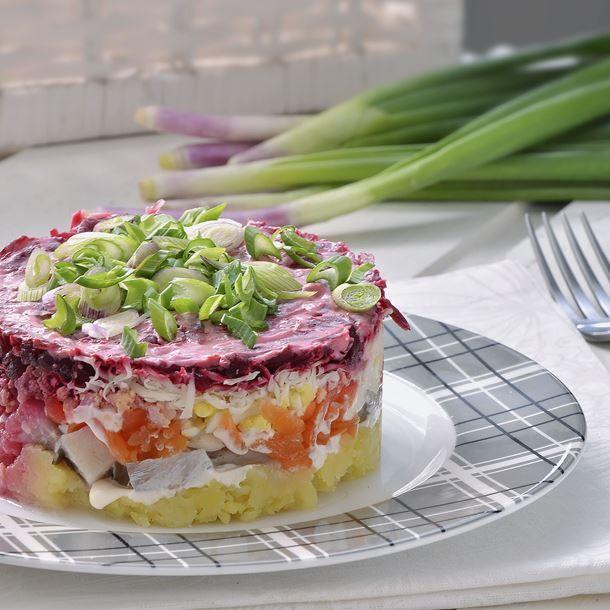 Salade russe au hareng fumé