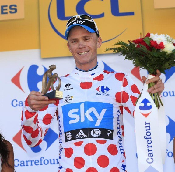 TDF PIC: Chris Froome. What a day! Thrilled to bits for him. He looks good in that polka dot jersey!