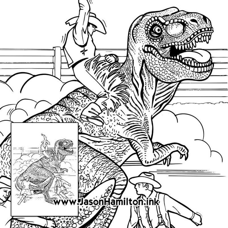 Dinosaur Rodeo coloring page (PDF instant download