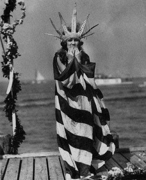 The first Miss America, Margaret Gorman, 1921 --wearing a Statue of Liberty