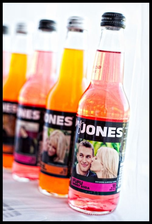 We did these for my daughter's wedding and they were a hit! Personalized Jones Soda bottles :D