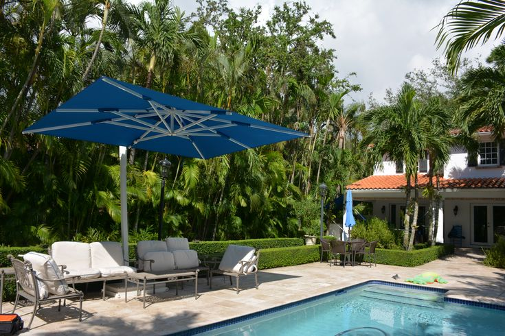 Poolside Cantilever Patio Umbrella By The Shade Experts