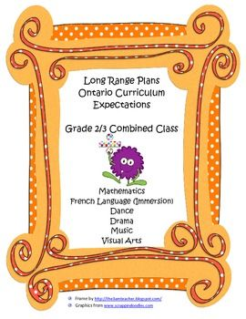 Long Range Plans - Grade 2/3 French Immersion Class - Onta