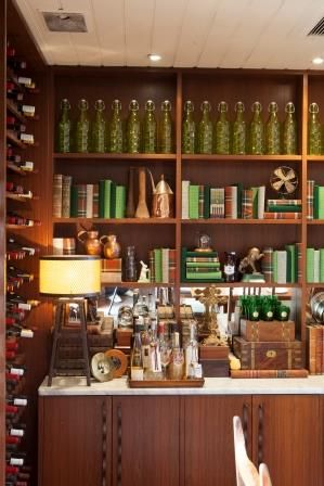 Hand covered books in green fabrics set the scene for our library this winter. Donovans Restaurant