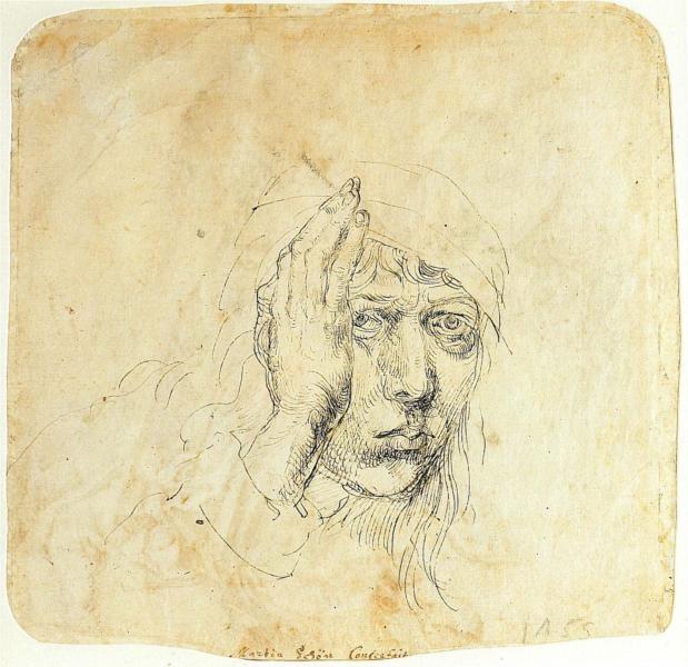 DURER Albrecht - German painter/engraver (Neurenberg 1471 - 1528) ~ Self-Portrait with a wrap, 1492