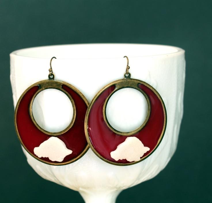 Red and white resin Razorback hoop earrings. $25.00, via Etsy.