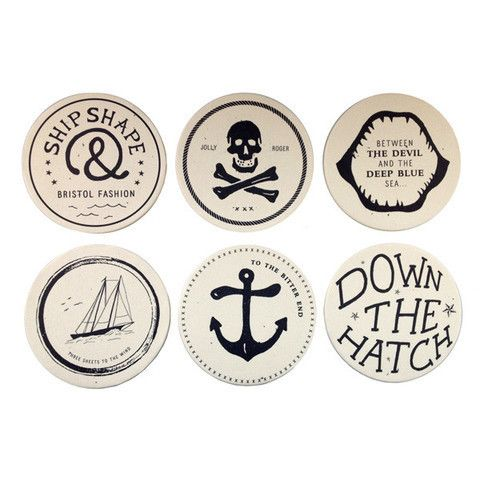 drunken sailor drink coasters by izola