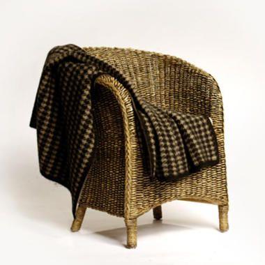 Koru Luxury Hounds Tooth Merino Wool & Possum Fur Rug or Throw