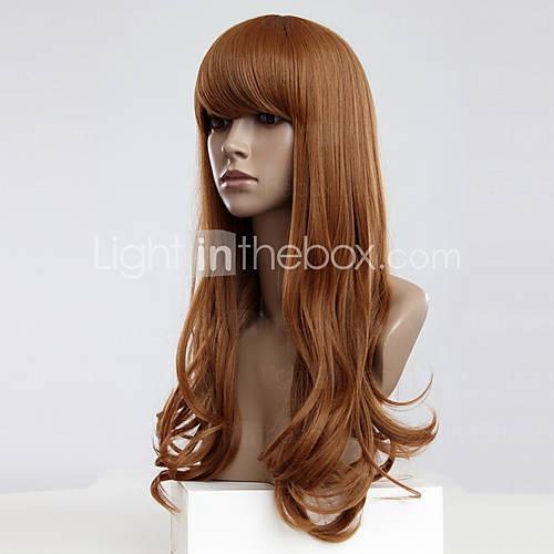 Capless Long Golden Blonde ondulés Perruques synthétiques