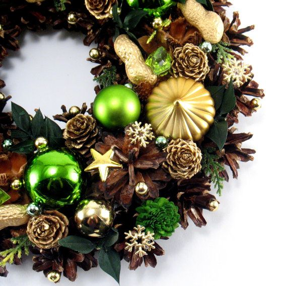 Pinecone Wreath Christmas Wreath Holiday Wreath by ZielonePalce