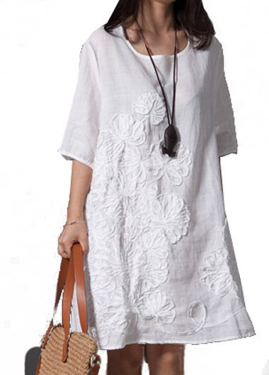 Flower Embroidered Round Neck White Straight Dress on sale only US$25.43. Cute! Wear with cropped pants or leggings if too short.