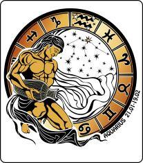 Aquarius and the zodiac sign. Horoscope circle vector art illustration