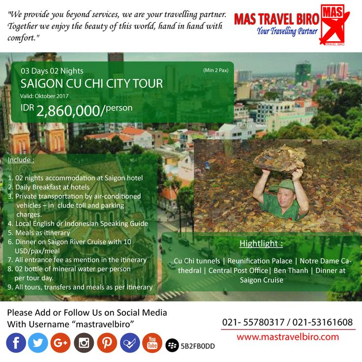Mastravelbiro ada promo tour ke Vietnam SAIGON CU CHI CITY TOUR 3 Hari 2 Malam. Harga dimulai dari Rp 2,860,000😊  Buruan booking!👇 Phone : 021 55780317 WA : 081298856950 Email : tourhotel.metos@mastravelbiro.com    #mastravelbiro #promotravel #travelagent #tourtravel #vietnam