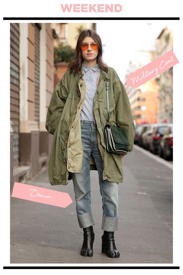 寒さが本格的になってきたら、モッズコートの出番! インにストライプのシャツとデニムを合わせ、ミリタリーアイテムをクリーンベーシックに着こなすのがガール流。