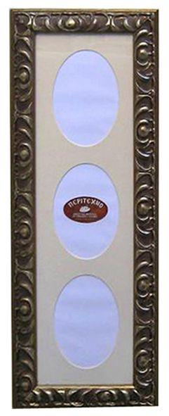 Ξύλινη  σκαλιστή κορνίζα τοίχου επικαλυμμένη με φύλλο ασημιού πατιναρισμένη με χειροποίητο πασπαρτού με 3 θέσεις για φωτογραφίες διαστάσεων 18Χ50cm.  www.peritexno.com.gr