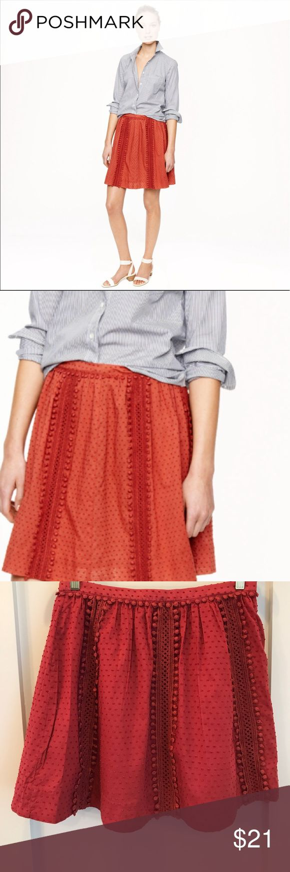 """J Crew Swiss Dot Pom Pom Skirt Size 3 Skirt sits above the hip. 17.5"""" long. An easy feminine silhouette with trim that makes us smile. Developed by our in-house embellishment team, it adds a pop of personality to airy swiss dots.  Cotton. Side zip. J. Crew Skirts"""