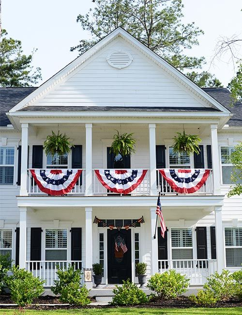 Patriotic Porch For The 4th Of July With Bunting A Red