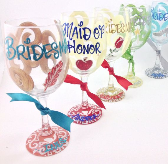 FREE SHIP ON 7 Plus Disney Bridesmaid Bride Wine Glass Personalized Snow White Beauty and the Beast Tinkerbell Cinderella Pocahontas