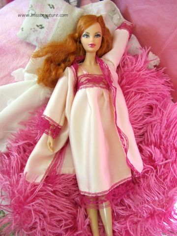 Pink lace nightgown for Barbie (robe tutorial also available on the same site).