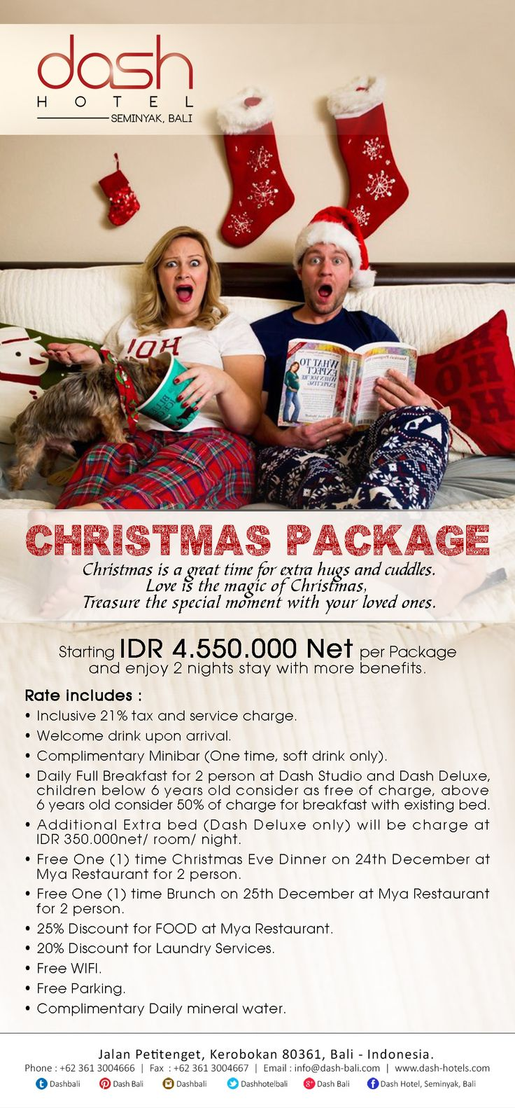 CHRISTMAS PACKAGE!! Starting IDR. 4.550.000 Net per Package and enjoy 2 nights stay with more benefits.  #prepare #holiday #with #christmas #package #packagedeal #stay #more #benefits #only #dashbali #seminyak #petitenget #bali #indonesia