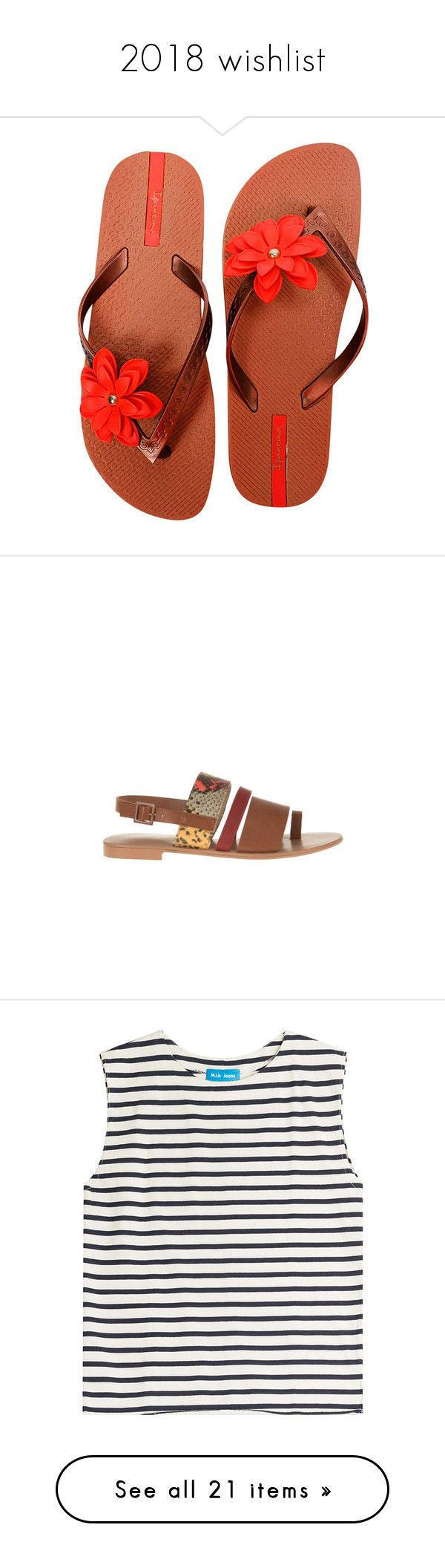 """2018 wishlist"" by misandovalgonza ❤ liked on Polyvore featuring shoes, sandals, flip flops, brown strappy sandals, red sandals, ipanema flip flops, thick strap sandals, red strap sandals, snake sandals and snake shoes"
