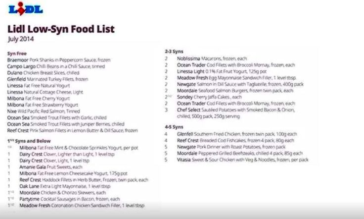 Slimming World - Lidl Syn-Free Food List