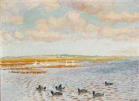 Svaner og blishøns, Fiilsø, i baggrunden Henne kirke by Johannes Larsen