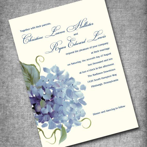 Our Wedding Invitation Set Thanks Seals Rsvp Hydrangea