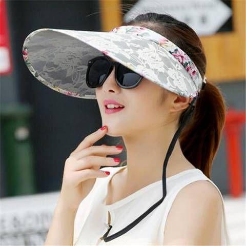 edf7e1937a350 Lace sun visor hat for women summer wide brim sun hats outdoor wear ...