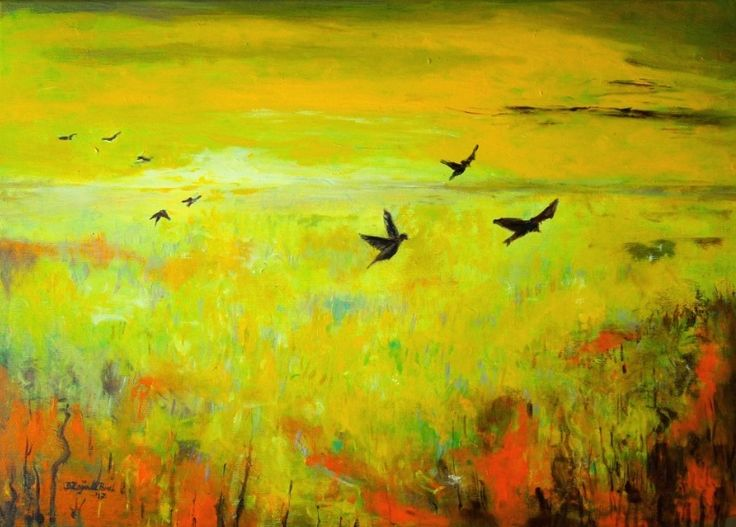 """Autumn flight"", original nostalgic painting by Bożena Zajiczek-Panuś #landscape #modernlandscape #art #modernart #birds #freedom #nostalgy #autumn #painting  More artworks at: borka-art.blogspot.com"
