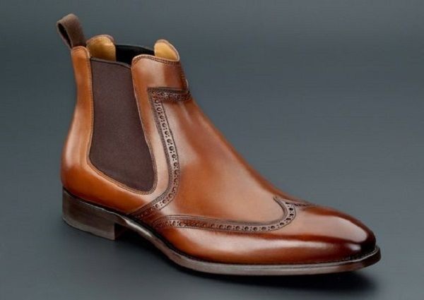 Handmade Men Brown Wing Tip Brogue Chelsea Boot, Men Brown Ankle Dress Boot - Boots