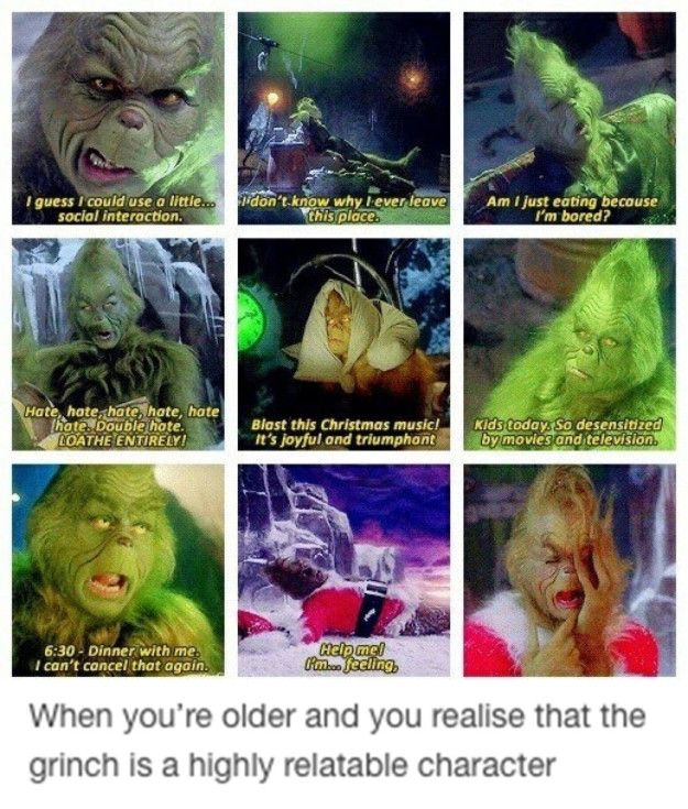 Because the older you get, the more you realise the Grinch is someone you can truly relate to.