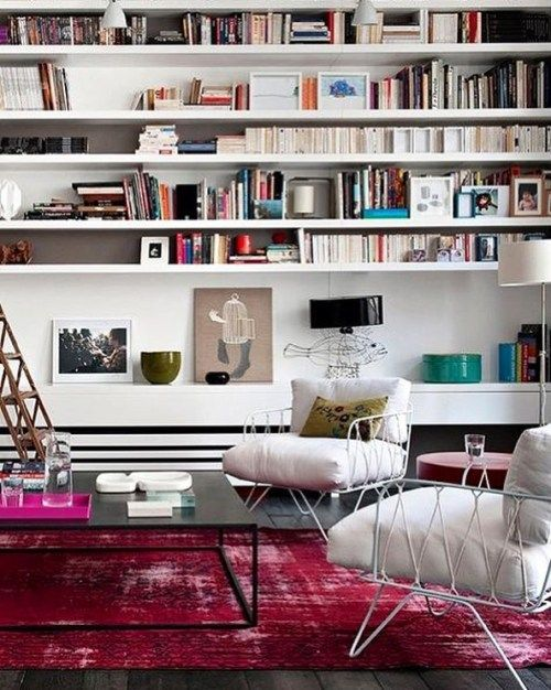 #HomeLibrary #White #Pink #Electric #Carpet #Books #Chic - Architecture and Home Decor - Bedroom - Bathroom - Kitchen And Living Room Interior Design Decorating Ideas - #architecture #design #interiordesign #homedesign #architect #architectural #homedecor #realestate #contemporaryart #inspiration #creative #decor #decoration