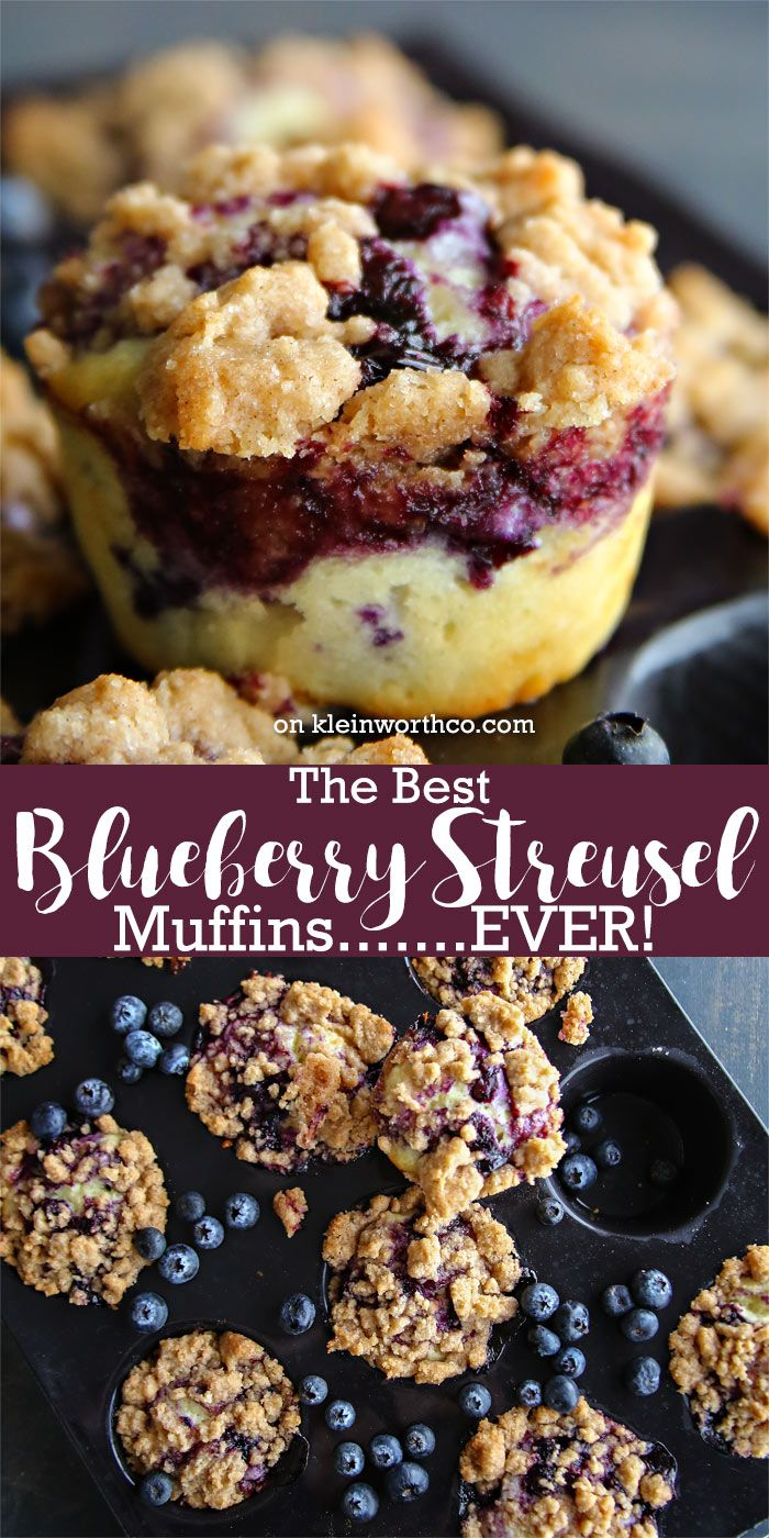 The very Best Blueberry Streusel Muffins recipe you'll ever make! It's the ultimate in easy breakfast recipes with buttery streusel crumbles. Delicious!  via @KleinworthCo
