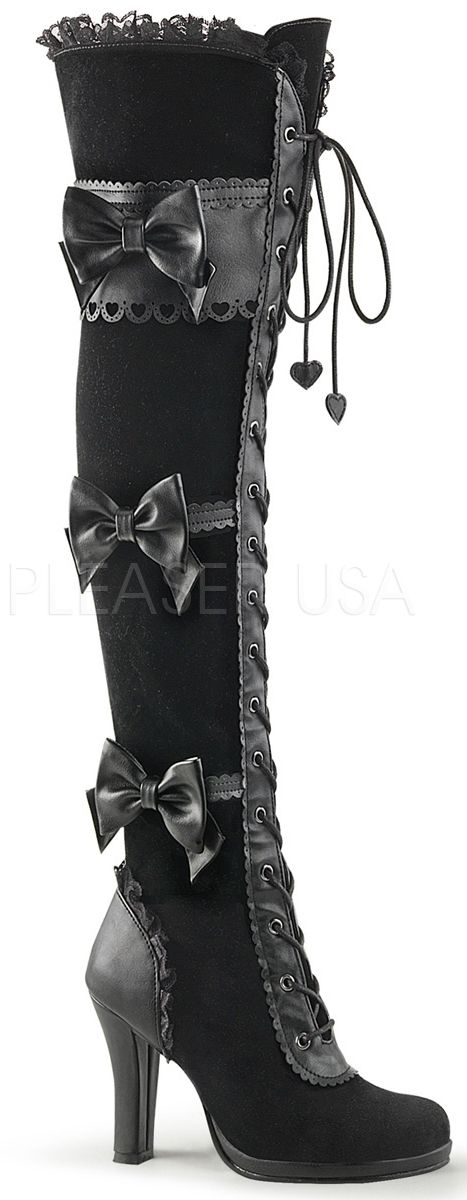 "Demonia Glam 300  3 3/4""(9.5cm) Heel, 1/2"" (1.2cm) Platform Goth Lolita Lace-Up Front Over-the-Knee Boot Featuring Straps W/ Scalloping & Bow Details, 1/3 Inner Side Zipper"