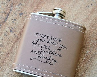 Engraved Leather Flask Hip Anniversary Gift For Men