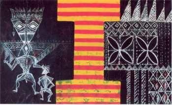 FATU FEU'U Vai Manino (2004)  acrylic and oil stick on canvas, 2420 x 1520 mm. From article Tala Lasi Samoa: Fatu Feu'u, Painter of Tales by Pandora Fulimano Pereira in Art New Zealand: NUMBER 111 / WINTER 2004