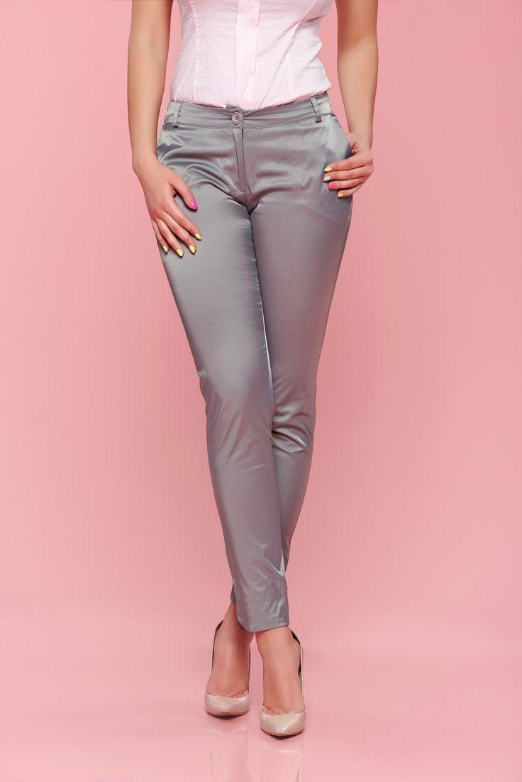 Comanda online, Pantaloni cu talie medie PrettyGirl gri conici. Articole masurate, calitate garantata!