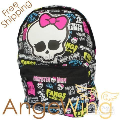 Wholesale Backpacks - Buy New Arrival! 2013 Brand Design Children Girl's Cartoon MONSTER HIGH Fashion Backpack Skull School Bags $28.36   DH...