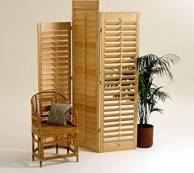 3 Easy Folding Screens--I like the shutters here for the cat area . . . might be better for air flow