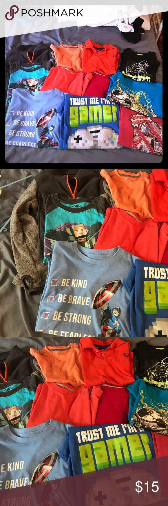 Boys size 6-7 bundle of shirts good condition One zip up fleece with thumb cut outs lol my son loved that. Chaps polo and a bunch of long sleeve and a few short sleeve graphic shirts. All size are 6-7 Shirts & Tops