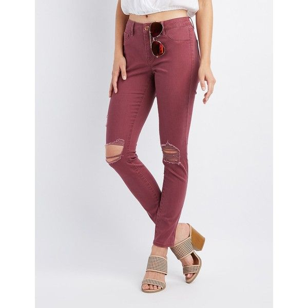 Refuge Skin Tight Legging Destroyed Jeans ($25) ❤ liked on Polyvore featuring jeans, dusty rose, destroyed skinny jeans, distressed jeans, destructed skinny jeans, distressing jeans and low rise jeans