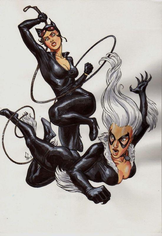 Libbessart - Catwoman vs Black Cat Comic Art | Comics ...